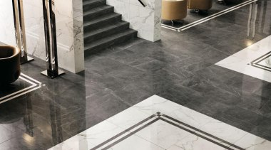 Marvel Calacatta and grey stone wall and floor floor, flooring, interior design, product design, tap, tile, gray, white