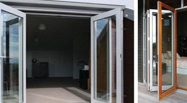 Bi-folding doors open up the full potential of door, glass, window, black, gray