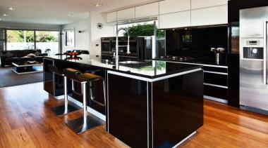 Lower Hutt Kitchen - Lower Hutt Kitchen - cabinetry, countertop, floor, flooring, hardwood, interior design, kitchen, laminate flooring, wood, wood flooring, black, gray