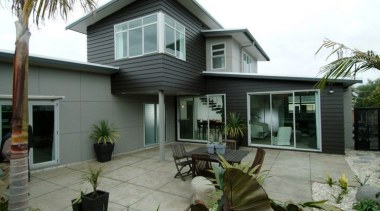 Linea Weatherboard and Titan Façade Panel - Linea cottage, elevation, estate, facade, home, house, property, real estate, residential area, siding, window, gray