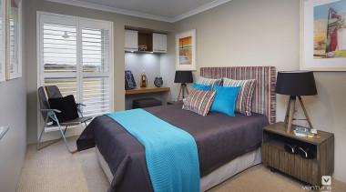 Bedroom design. - The Meridian Two Storey Display bedroom, home, interior design, real estate, room, gray
