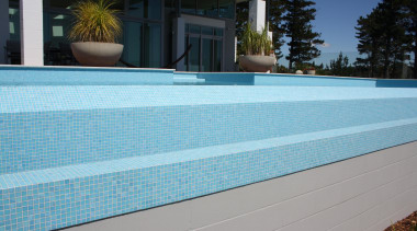 Bisazza Paroa Bay mosaic pool - Bisazza Range backyard, daylighting, estate, house, leisure, property, real estate, roof, siding, swimming pool, wall, window, wood, gray, teal