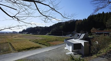 e House, Miyagi Prefecture, Japanhannat architects grass, house, plant, real estate, sky, tree, teal