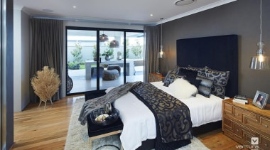 Master ensuite design. - The Macquarie Display Home bedroom, ceiling, floor, home, interior design, property, real estate, room, wall, window, gray, black