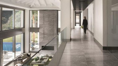Galena hallway tiles - Mineral D Galena Range architecture, ceiling, daylighting, floor, flooring, glass, interior design, lobby, gray