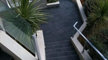 Stone D graphite exterior staircase tiles - Stone architecture, floor, flooring, house, outdoor structure, plant, property, walkway, black