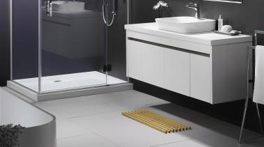 A white composite or laminate bench top and angle, bathroom, bathroom accessory, bathroom cabinet, bathroom sink, floor, flooring, interior design, plumbing fixture, product, product design, room, sink, tap, tile, gray, black