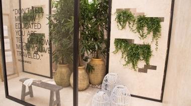 Cosentino Salone Milano 16 - The Balinese Garden floristry, flower, flowerpot, furniture, houseplant, interior design, plant, tree, white, brown