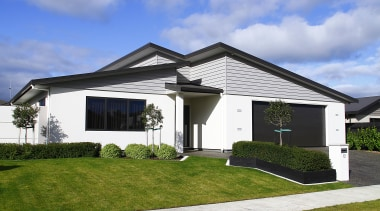 Award Winning Home in Manuwatu - building | building, cottage, elevation, estate, facade, home, house, property, real estate, residential area, roof, siding, sky, villa, white