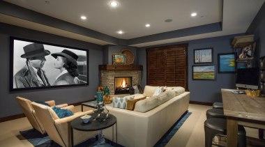 Mountain Modern - Lower Level Family Room - ceiling, interior design, living room, real estate, room, black, gray