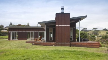 Outdoor contemporary timber chimney - Chimney - cottage cottage, facade, farmhouse, home, house, property, real estate, white