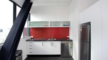 Interiors @ OfficeMax supplied the staff kitchen at interior design, kitchen, real estate, white