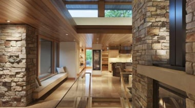 This new house, designed by Charles R Stinson architecture, ceiling, daylighting, estate, home, house, interior design, lobby, real estate, stairs, wood, brown