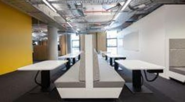 ASB Bank North Wharf, tables featuring Formica Snowdrift. ceiling, floor, interior design, office, table, gray, black