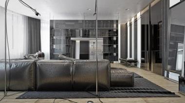 industrial design options - Masculine Apartments - floor floor, flooring, furniture, interior design, living room, gray, black