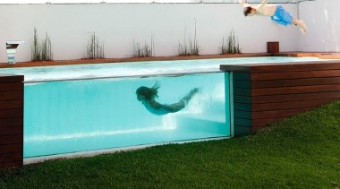 Designed by Andres Remy Arquitectos furniture, leisure, swimming pool, table, water, wood, white