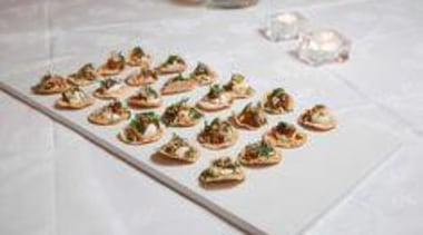 Bhel Puri on Caearstone Frosty Carrina - At dish, finger food, food, petit four, platter, gray, white