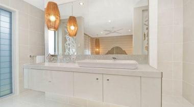 Vista Homes Buttermilk - Buttermilk™ - bathroom | bathroom, bathroom accessory, bathroom cabinet, countertop, floor, home, interior design, property, room, sink, tap, tile, gray