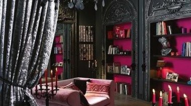 "Never thought pink can be ""spooky"" - Pink home, interior design, living room, room, black"