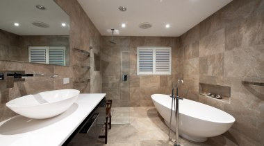 Winner Bathroom of the Year 2013 Hunter Region architecture, bathroom, ceiling, estate, floor, flooring, interior design, property, real estate, room, tile, wall, gray