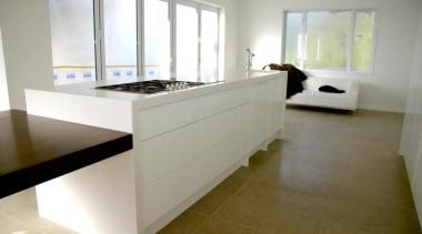 modern minamalist kitchen design Waiheke Island 2014 countertop, floor, flooring, hardwood, interior design, kitchen, property, real estate, room, wood flooring, gray