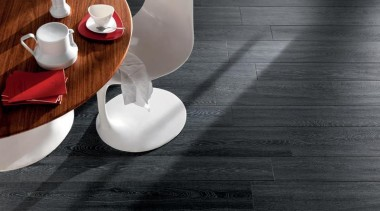 Bioplank oak lava interior anti-bacterial floor tiles. ceramic, floor, flooring, furniture, product design, still life photography, table, tableware, black, gray