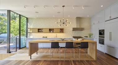 Finalist: TIDA International Kitchen of the YearSee architecture, ceiling, countertop, floor, flooring, hardwood, house, interior design, interior designer, kitchen, laminate flooring, room, table, wood flooring, gray