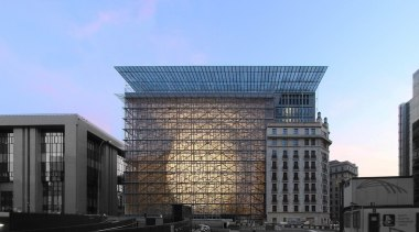 This new headquarters for the European Union Council architecture, building, city, commercial building, condominium, corporate headquarters, daytime, facade, headquarters, landmark, metropolis, metropolitan area, mixed use, plaza, sky, skyscraper, tower block, teal, black