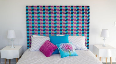 Tauranga Showhome - Tauranga Showhome - bed | bed, bed frame, bed sheet, bedding, bedroom, blue, duvet cover, home, interior design, purple, room, suite, textile, wall, gray, white