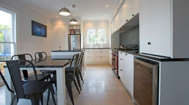 tiled floor, black granite, bar fridge, designatek countertop, home, interior design, kitchen, property, real estate, room, gray