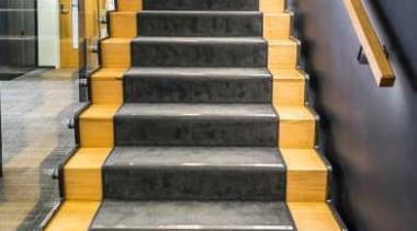 The refurbishment of interiors in the ClockTower Building floor, flooring, handrail, stairs, gray, black