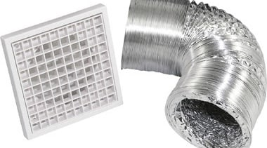 FeaturesKit Includes:1x Egg-crate Grill3m Aluminium ductingDuct clips x product, product design, silver, white