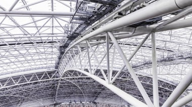 Singapore-based engineering company MHE-Demag provided the roof moving architecture, black and white, building, line, metal, sport venue, steel, structure, white, gray