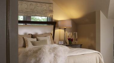 Historic Bungalow Renovation - Master Bedroom - bed bed, bed frame, bedroom, ceiling, floor, furniture, home, interior design, lighting, living room, room, wall, brown, gray, black