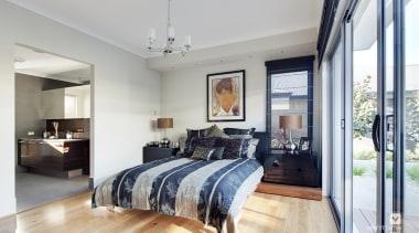 Master ensuite design. - The Sentosa Display Home bed frame, bedroom, ceiling, floor, home, interior design, living room, property, real estate, room, wall, gray