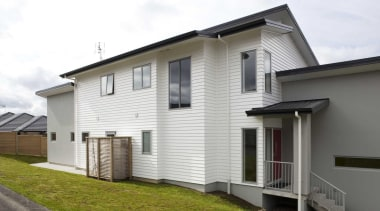 View of exterior from the street - Exterior building, elevation, estate, facade, home, house, neighbourhood, property, real estate, residential area, siding, white