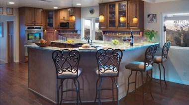 Counter seating - Counter seating - countertop | countertop, dining room, floor, flooring, hardwood, interior design, kitchen, real estate, room, table, wood flooring, gray, black