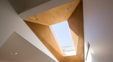 This project involved a rear addition to an angle, architecture, ceiling, daylighting, house, interior design, light, lighting, wall, wood, brown, gray