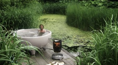 Outdoor Tub 04 - Outdoor Tub 04 - backyard, garden, grass, grass family, landscape, lawn, plant, pond, water, water feature, water resources, watercourse, yard, green