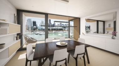 132 Halsey is a centrepiece of Wynyard Quarter, apartment, dining room, interior design, property, real estate, gray