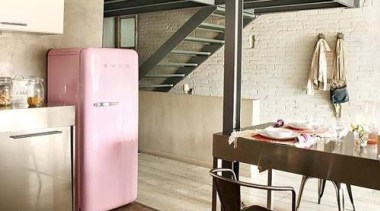 The Smeg retro fab fridge featured in this ceiling, floor, flooring, furniture, interior design, loft, table, white, brown