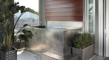 Custom Stainless Steel Spa with Intergrated Water Wall interior design, wall, gray