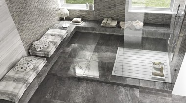 Floor tiles: Royal GreyWall tiles: Elegance Striato and floor, flooring, tile, gray
