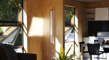 Waitakere Ranges - Studio 19 VisionWest Community Housing architecture, ceiling, home, house, interior design, living room, window, wood, brown