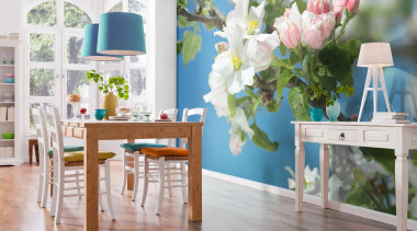 Primavera Interieur - Italian Color Range - blue blue, chair, dining room, flower, furniture, home, interior design, room, table, wall, window, gray