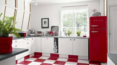 Smeg red Fab fridge with freezer is right floor, flooring, interior design, kitchen, real estate, room, white