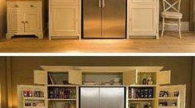 Fridge and Pantry all in one - Fridge cabinetry, closet, cupboard, furniture, home appliance, kitchen, product, refrigerator, shelf, shelving, brown, orange