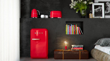 Smeg Retro Red Collection - Smeg Retro Red floor, furniture, interior design, light fixture, living room, product design, room, table, wall, black