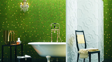 Elena bathroom. - Bisazza Range - bathroom | bathroom, floor, flooring, green, interior design, tile, wall, wallpaper, green