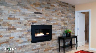 Dimensional Ledgestone Collection -Need to contact Natural Stone brick, fireplace, floor, flooring, hearth, interior design, living room, wall, wood burning stove, gray
